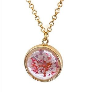 Jewelry - Floating glass flowers Pendant Charm Gold necklace